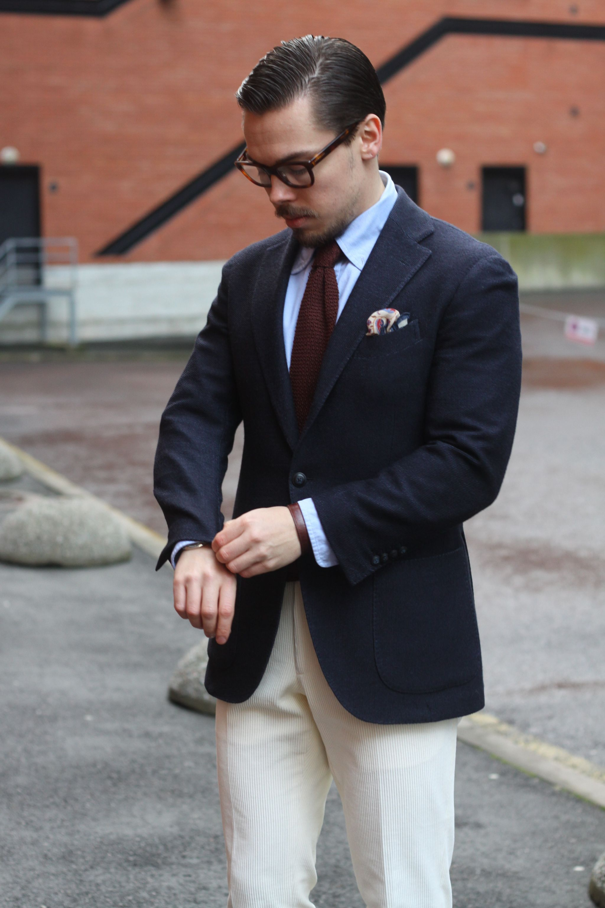 Rose&Born navy blazer and corduroy trousers