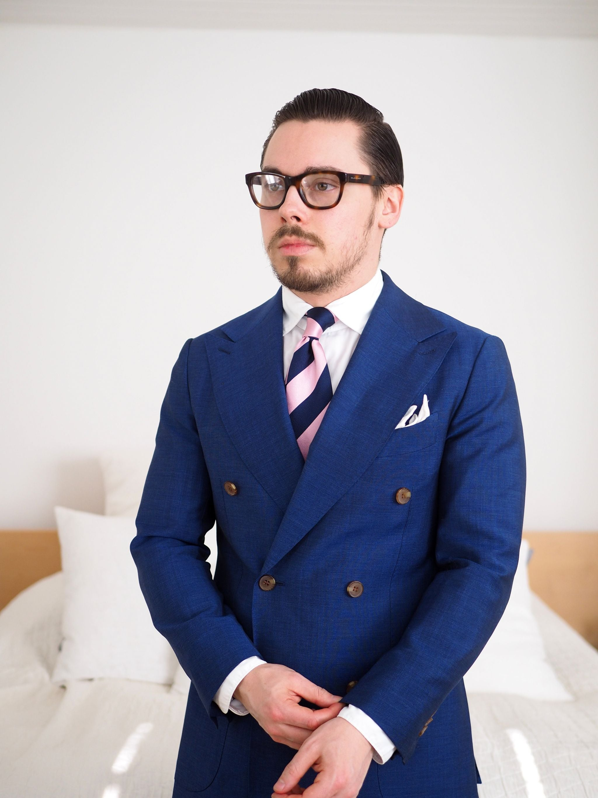 Blue suits - Royal blue double-breasted suit with pink striped silk tie