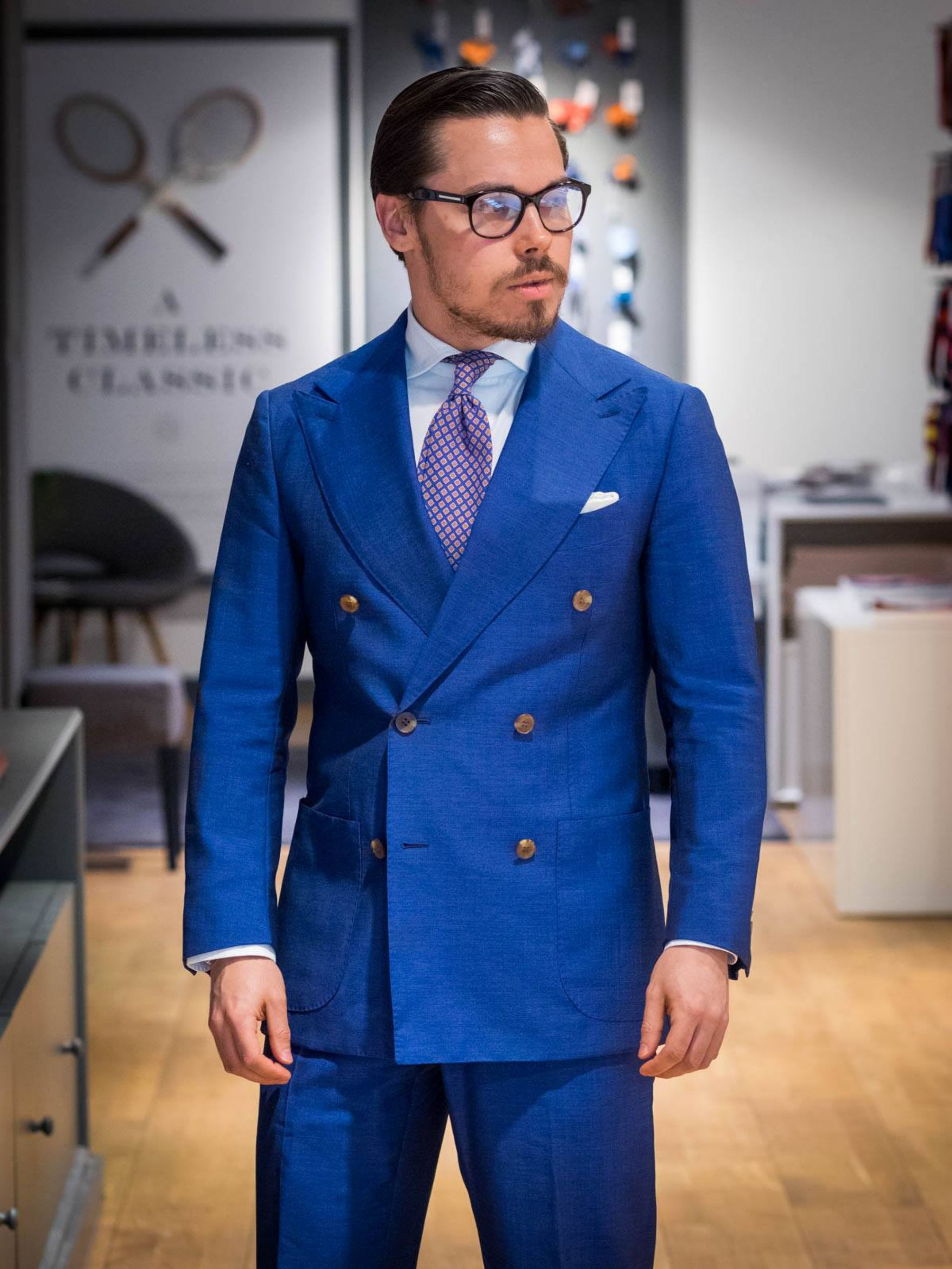 The royal blue suit.