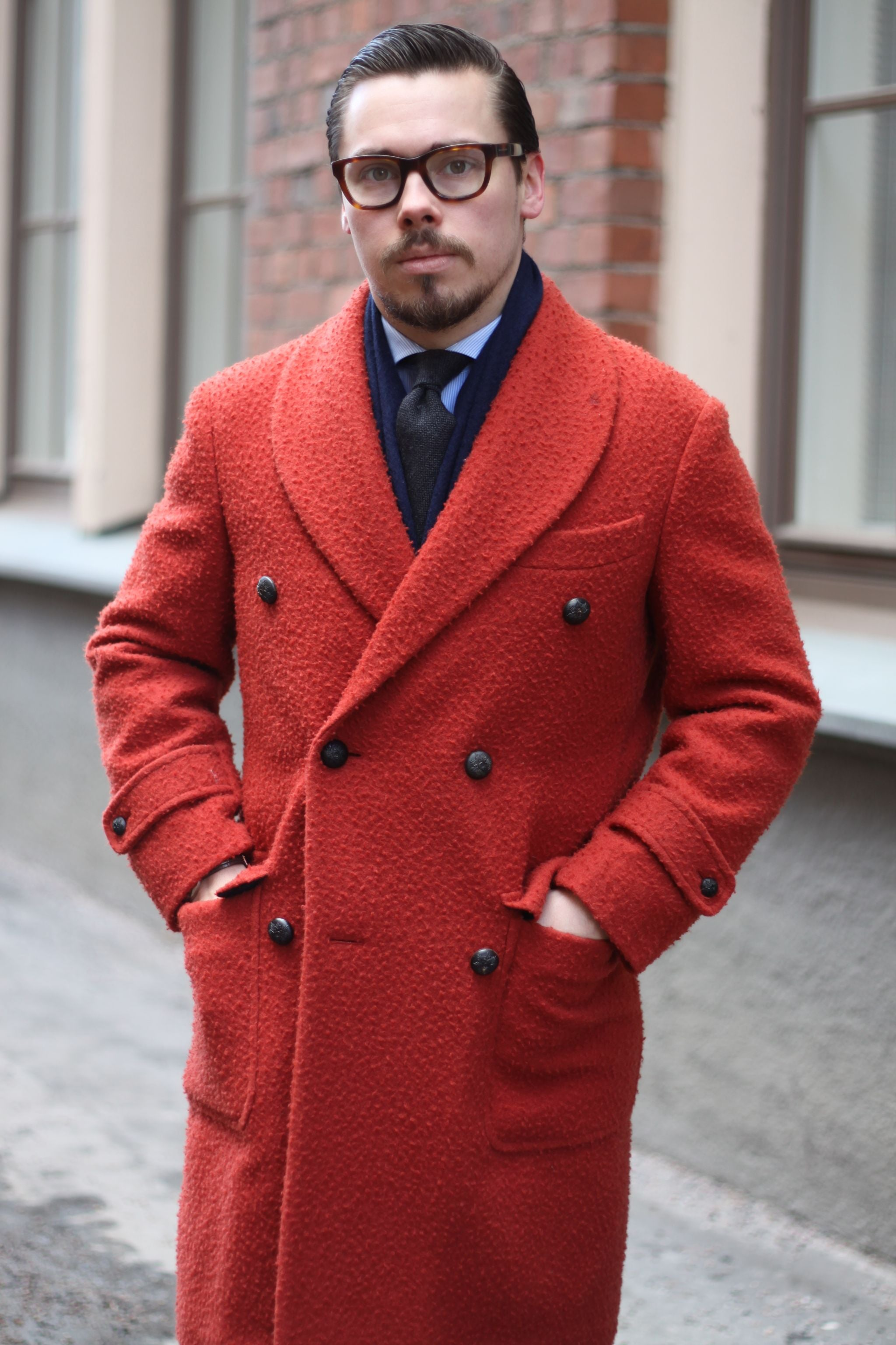 Shawl collar overcoat - Red casentino wool by The GIGI