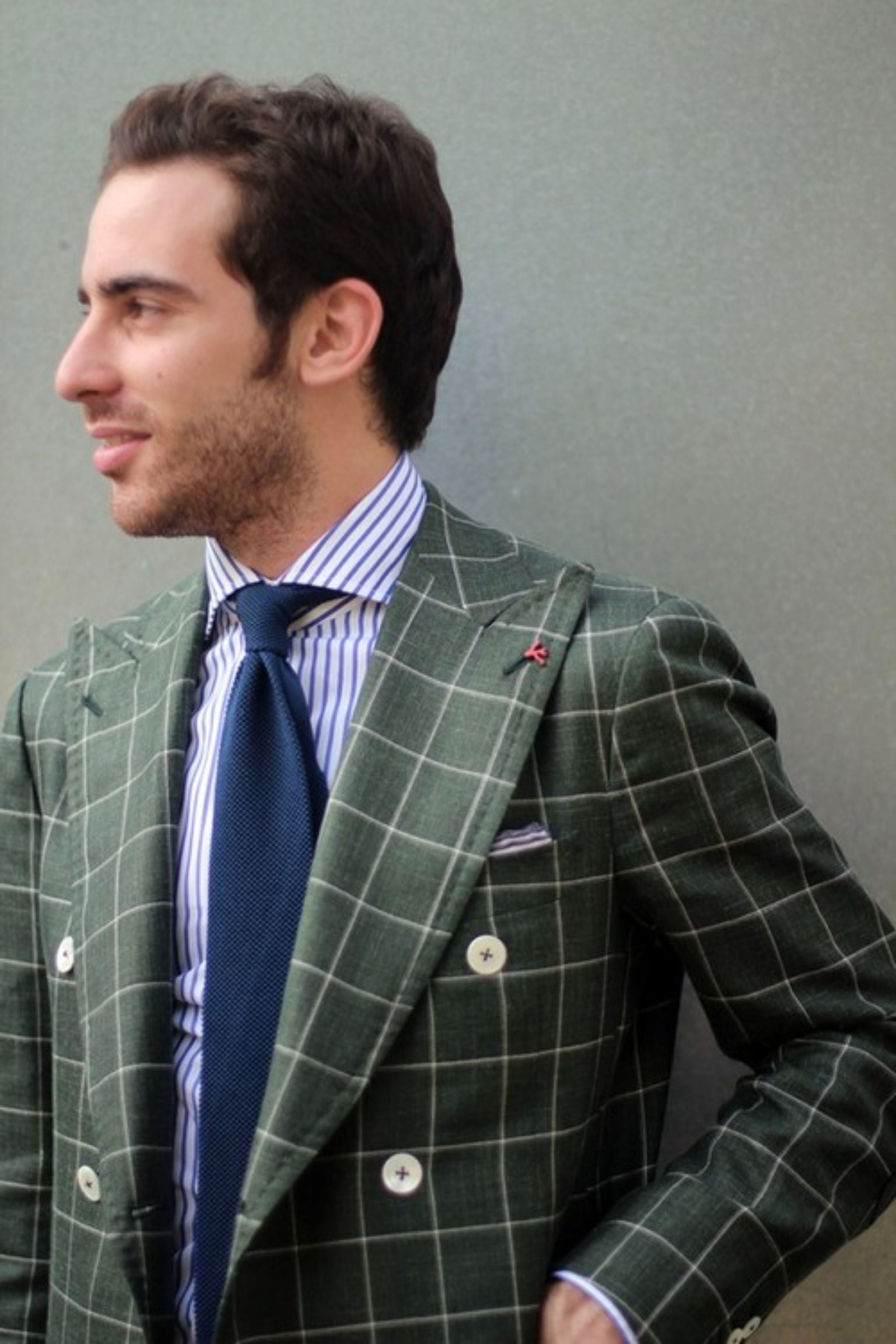 Sport coat for spring - green windowpane blazer by Isaia