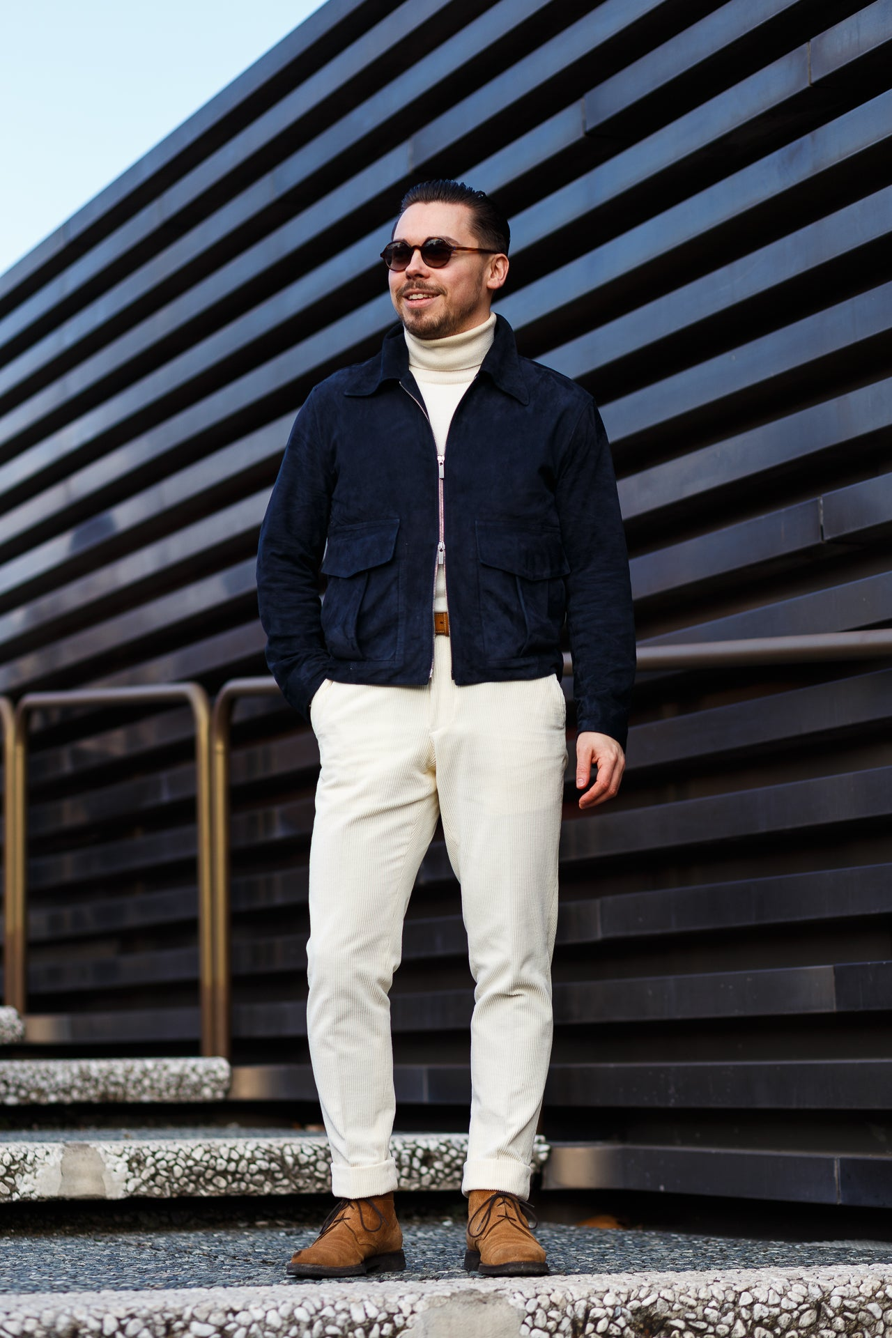 The Stoffa flight jacket with white corduroy trousers and roll neck sweater at Pitti Uomo 93