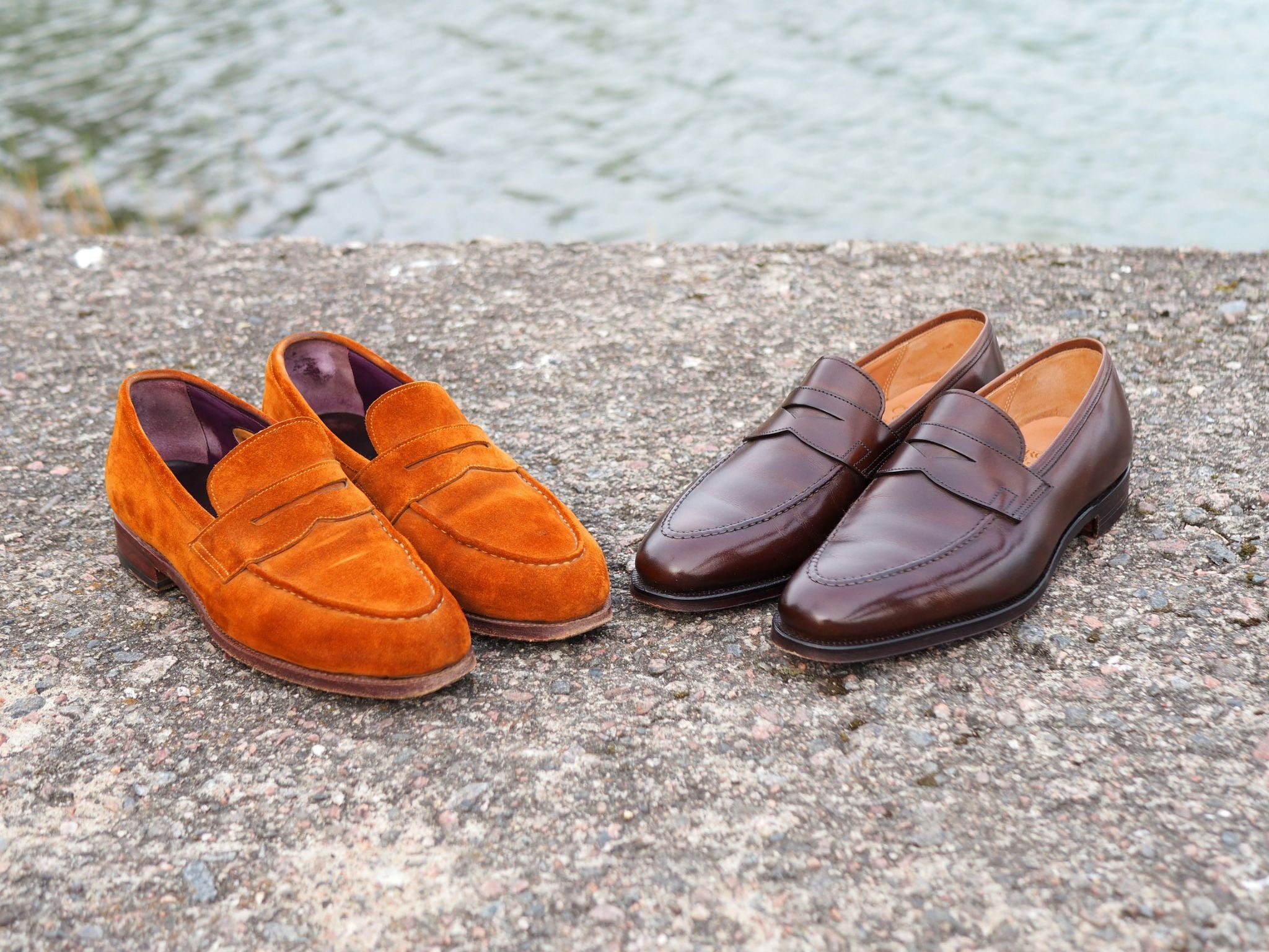 Suede penny loafer by Meermin and brown calf leather loafers by Crockett&Jones.