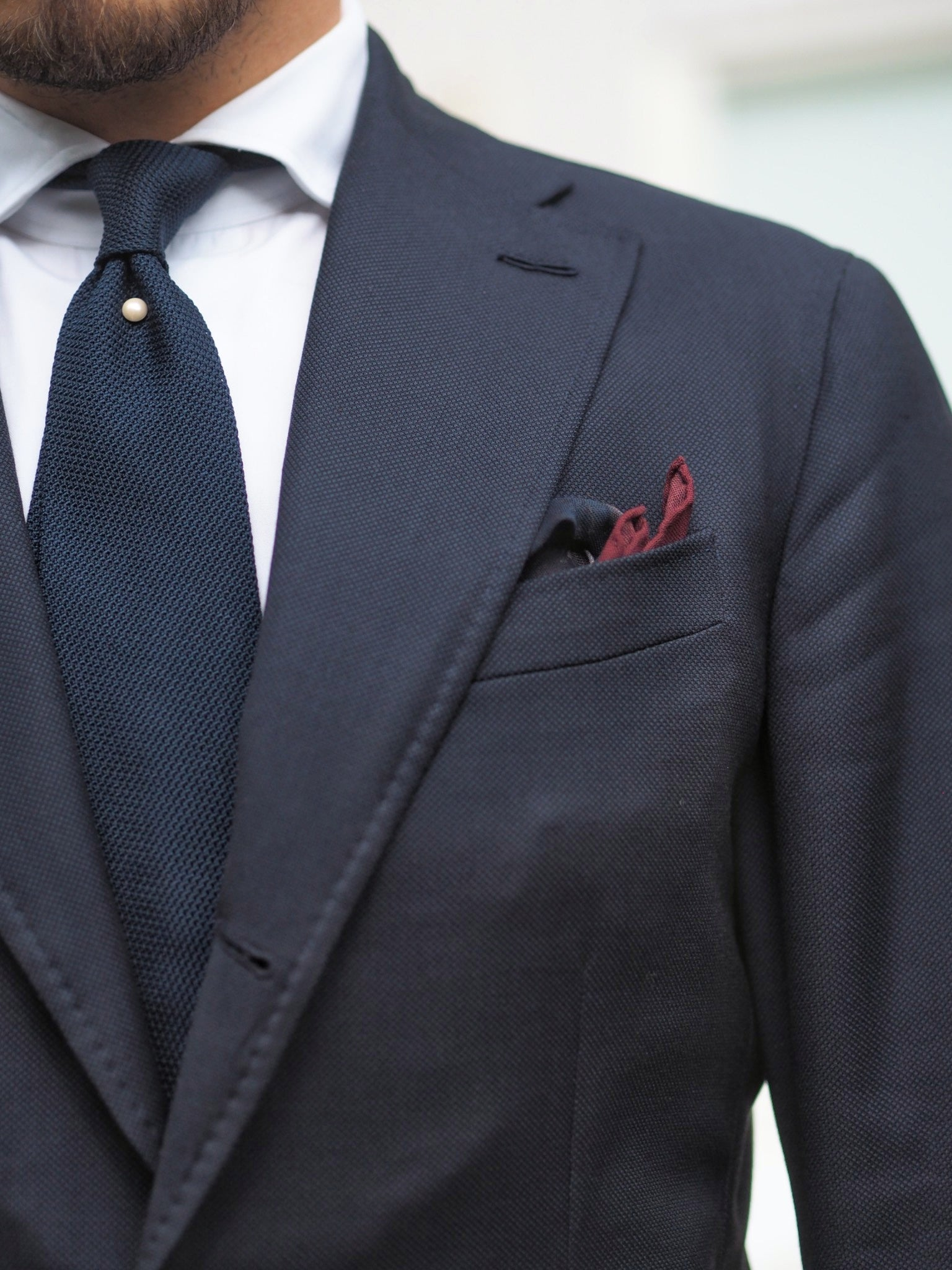 Blue suit for summer weddings party - tie pearl pin with navy blue grenadine tie.
