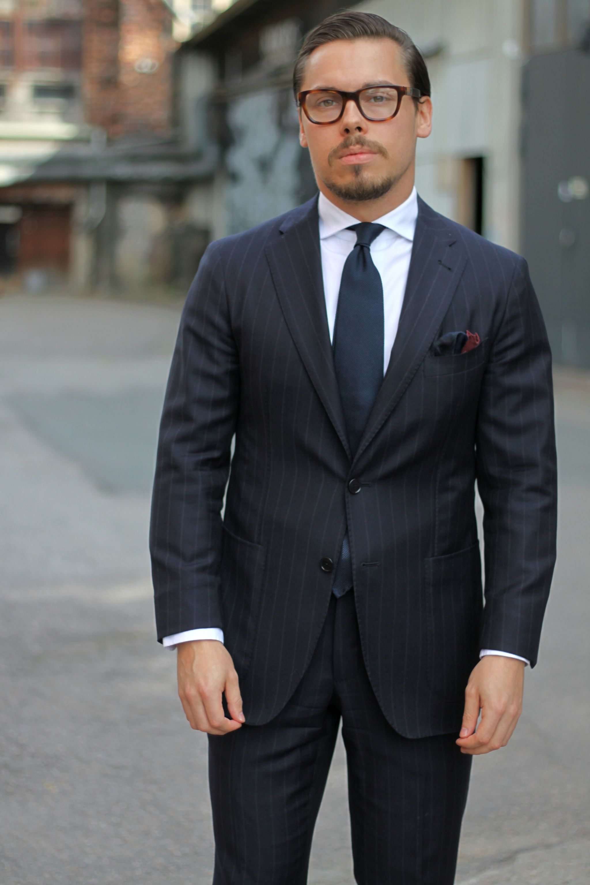 Tagliatore blue chalk stripe suit with DLA shirt, blue grenadine tie and pocket square
