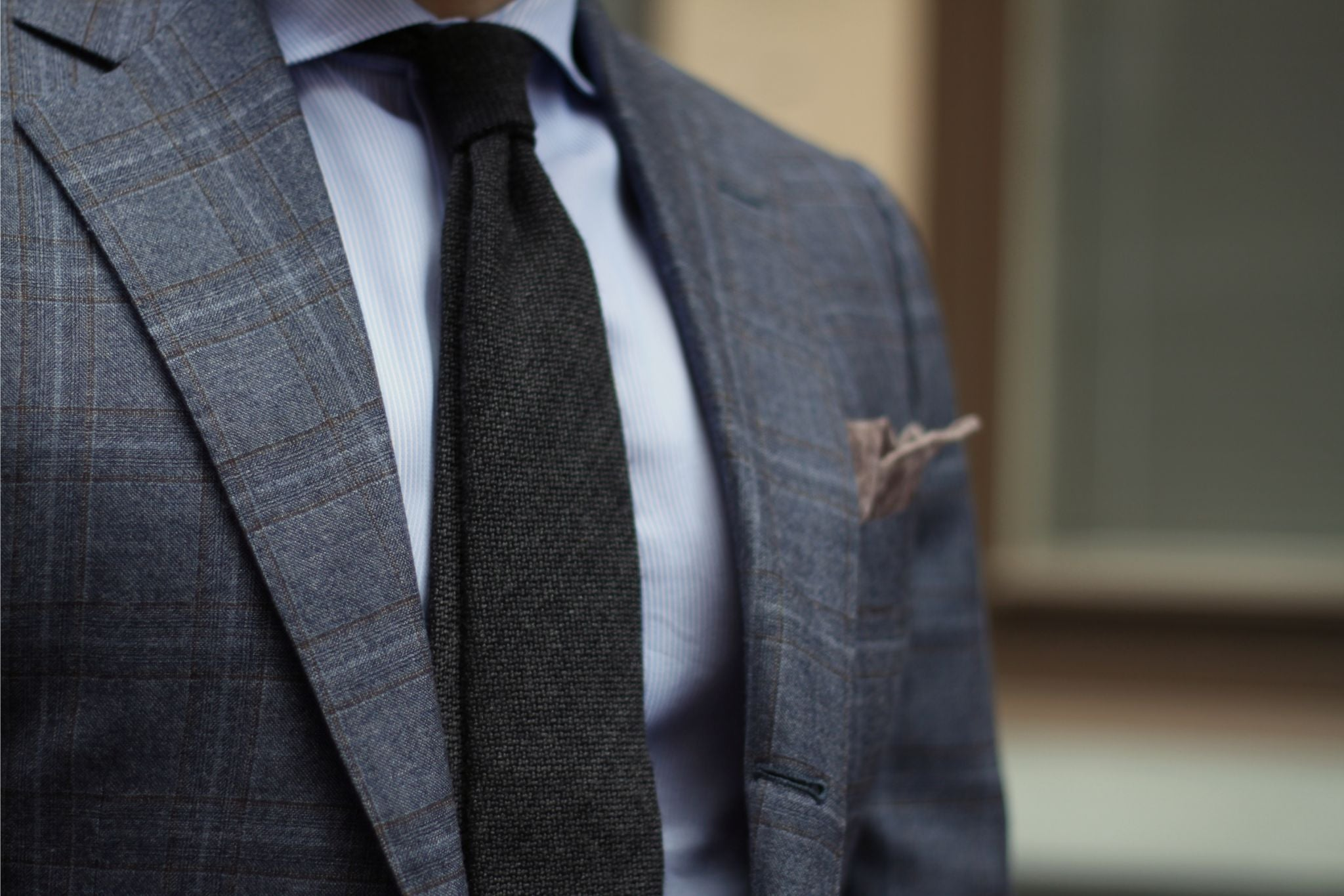Dark gray tie with business suit - textures of gray cashmere tie