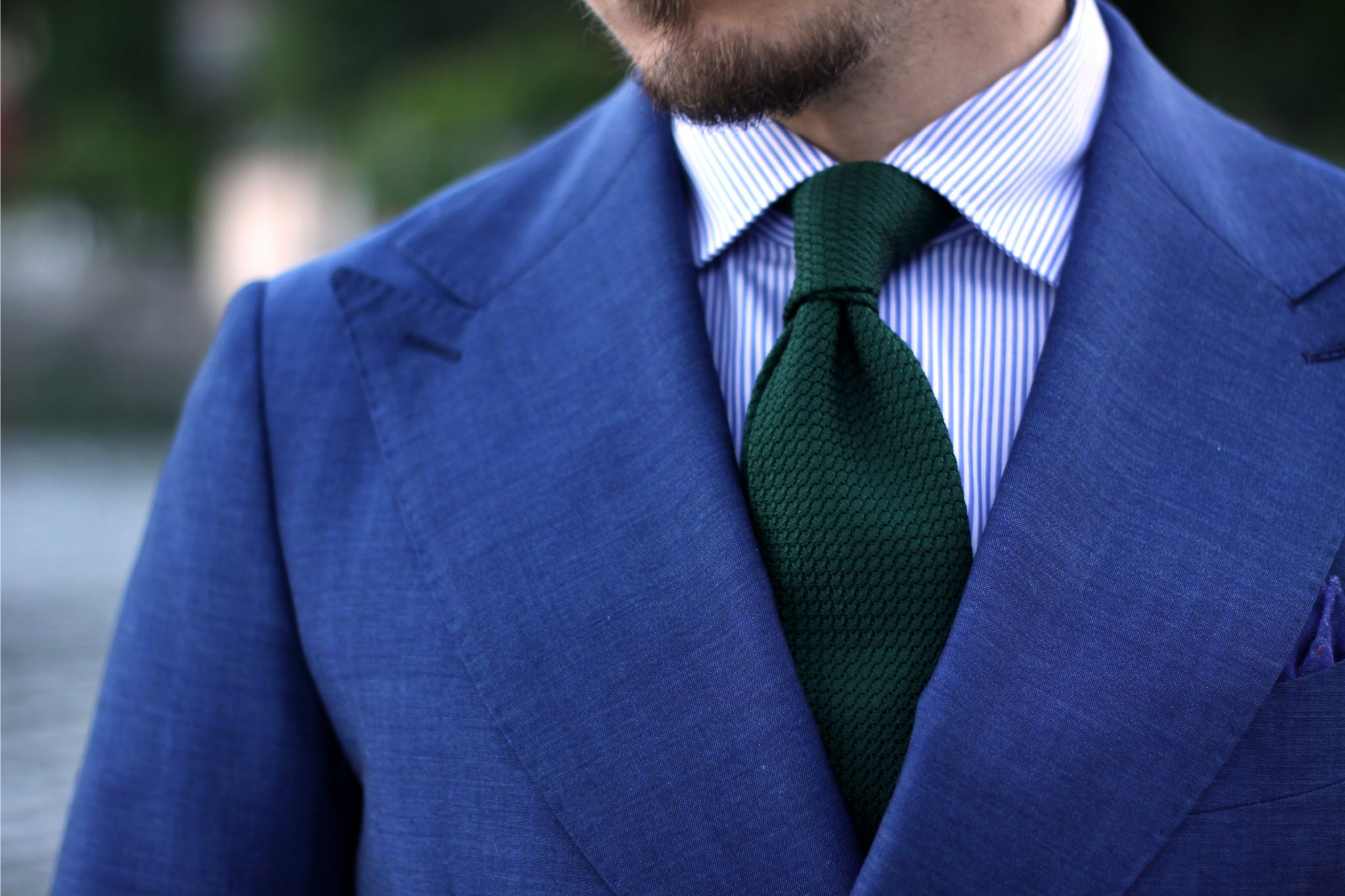 Royal blue suit with bottle green grenadine tie