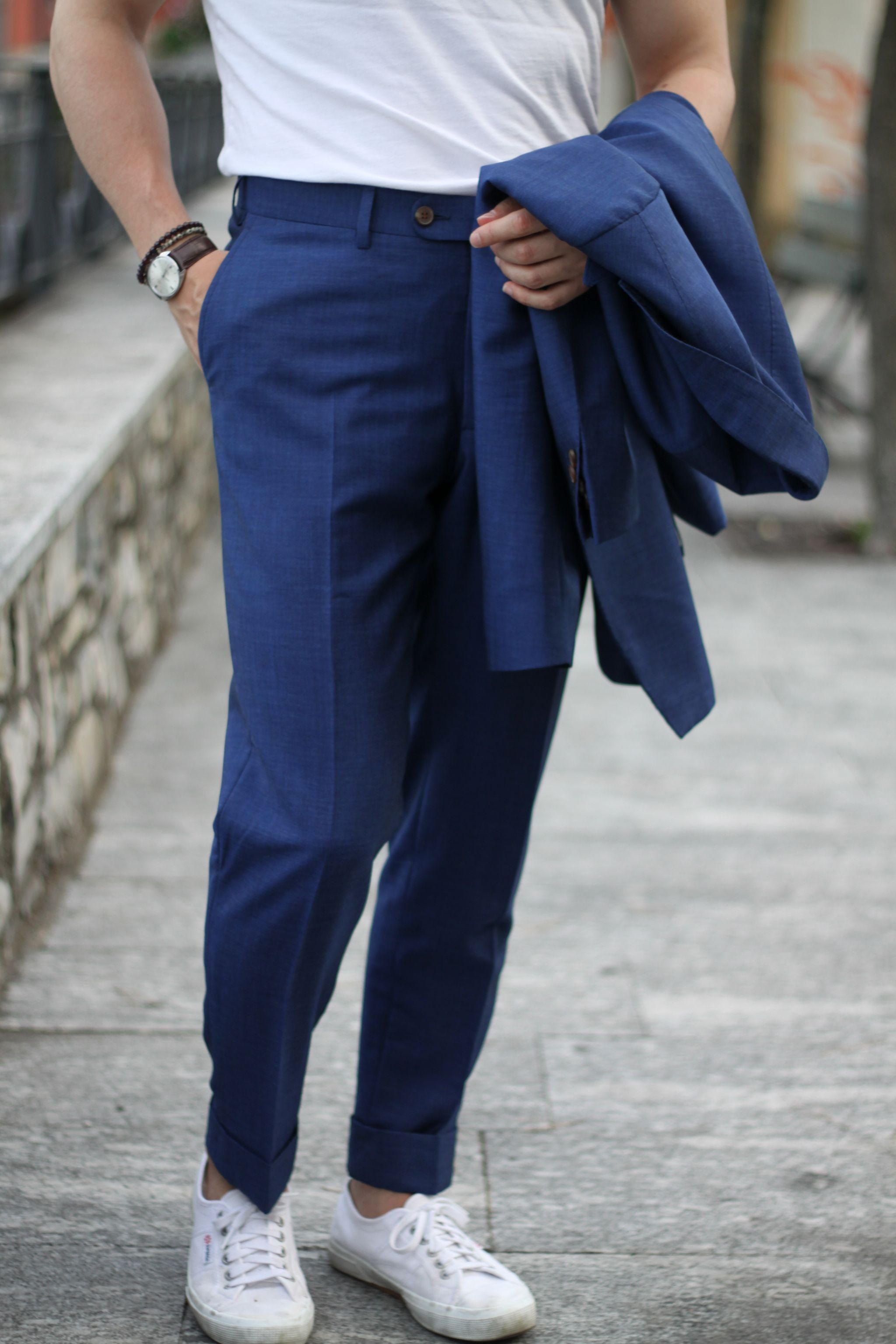 Royal blue suit - wearing t-shirt with suit and sneakers