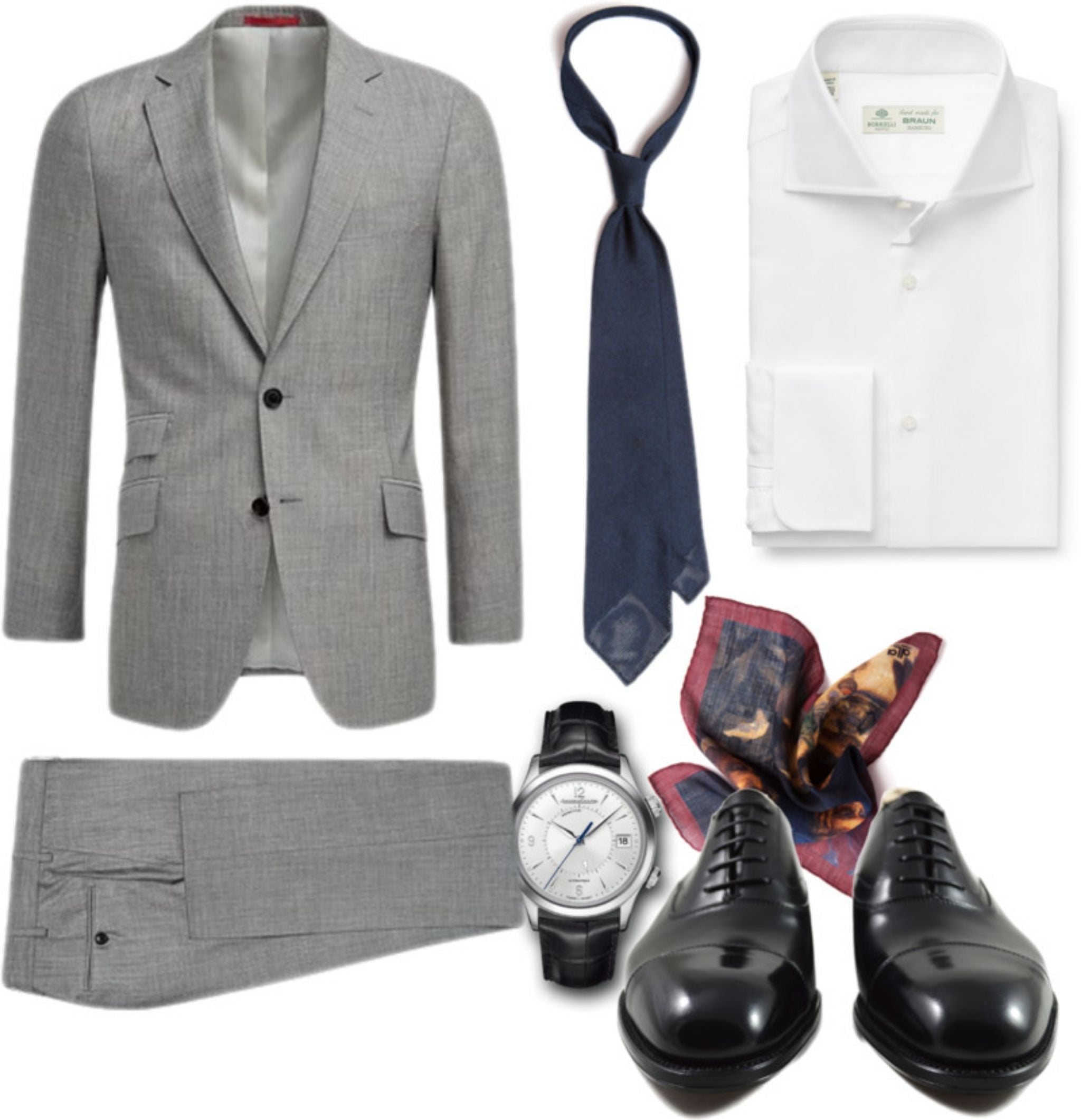 What to wear for wedding - gray suit with blue grenadine tie and black cap-top oxfords outfit
