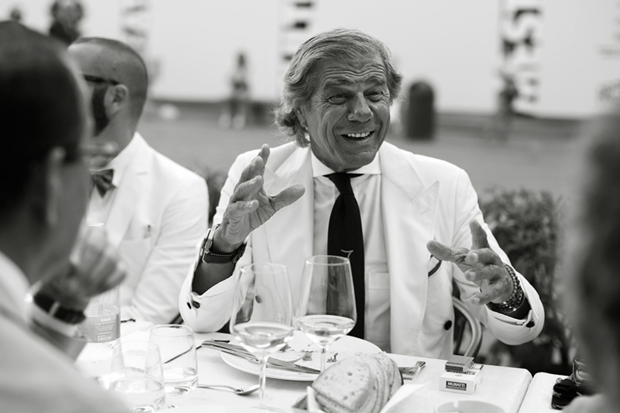Lino Ielluzzi wearing double-breasted white suit - the Sartorialist dinner