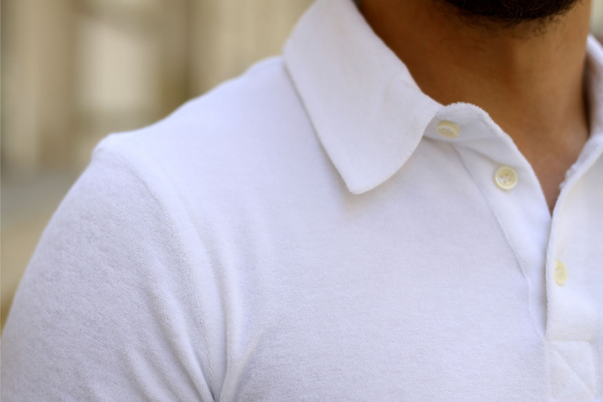White terry jersey cloth polo shirt details - the collar