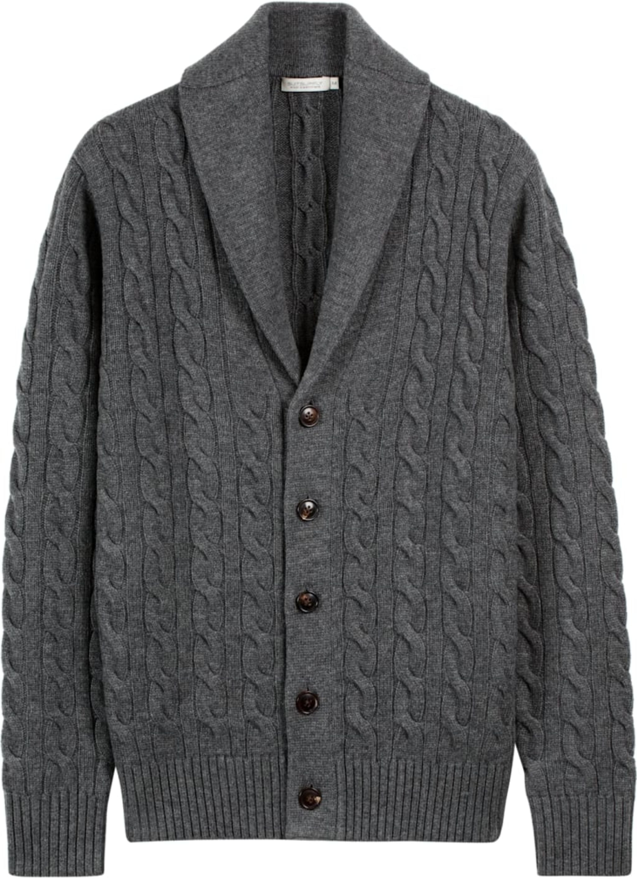 Dark gray suitsupply shawl collar cardigan