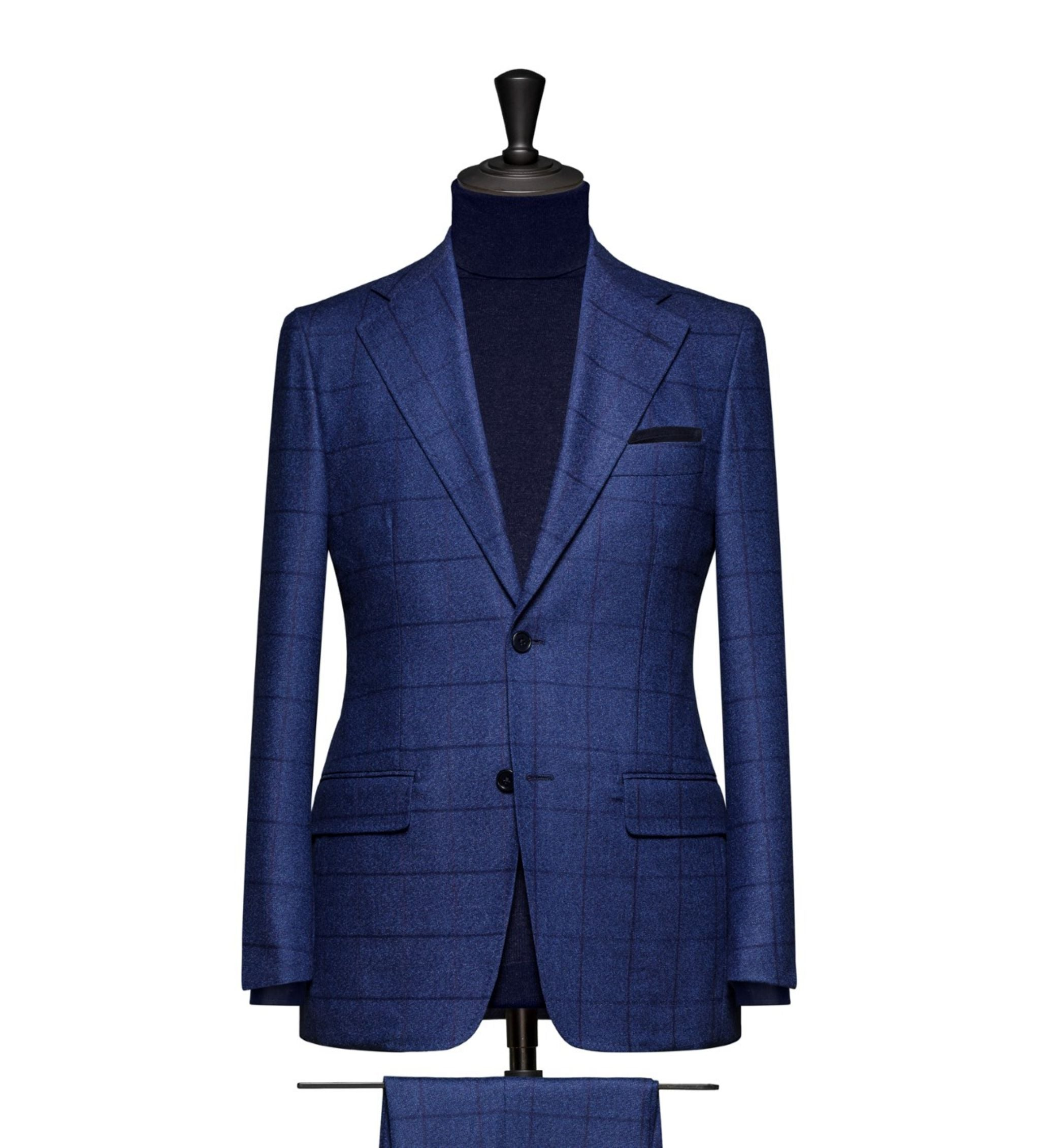 How to combine suits and sport coats - royal blue windowpane suit with roll neck sweater
