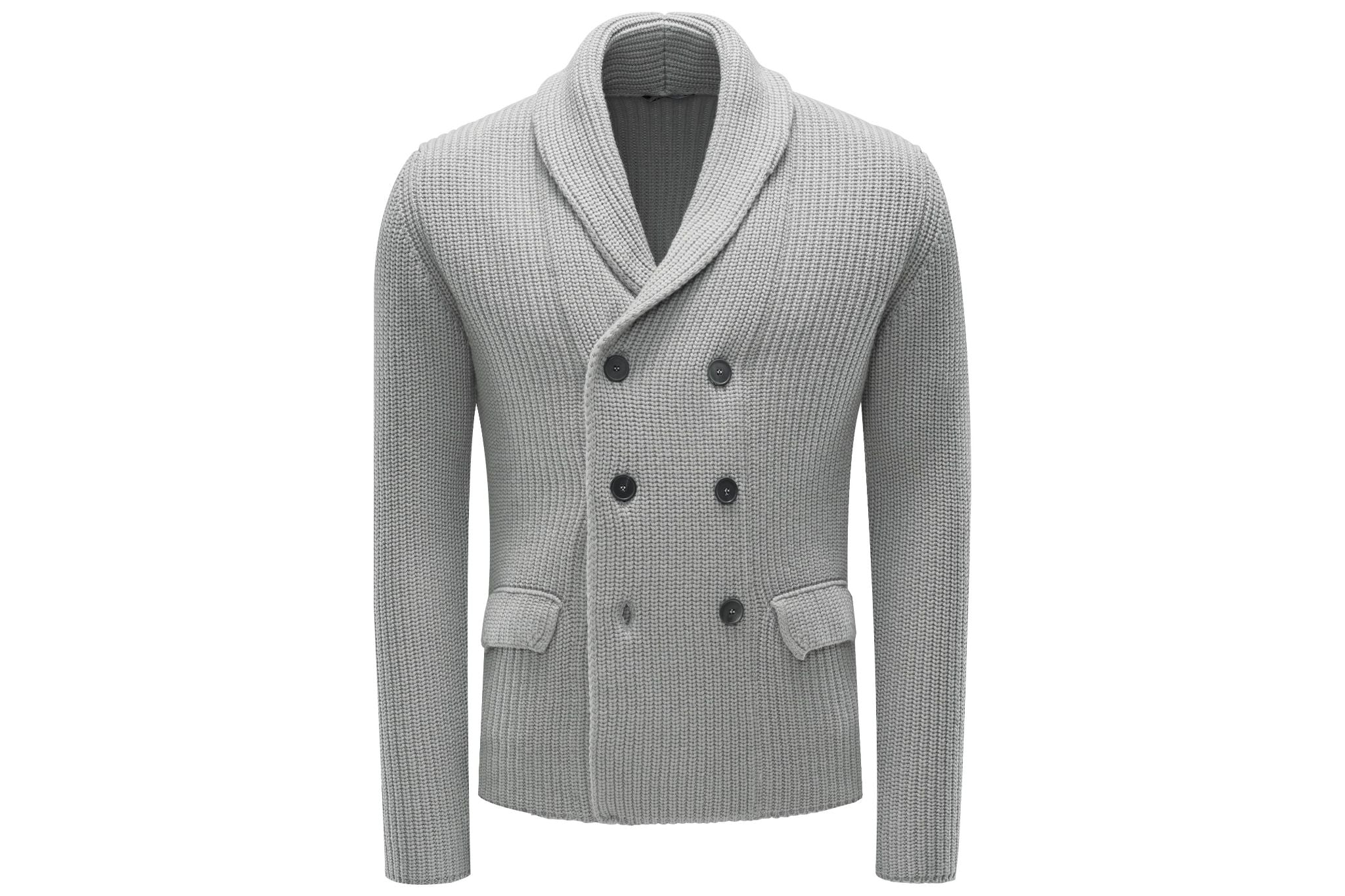 Light gray double-breasted shawl collar cardigan