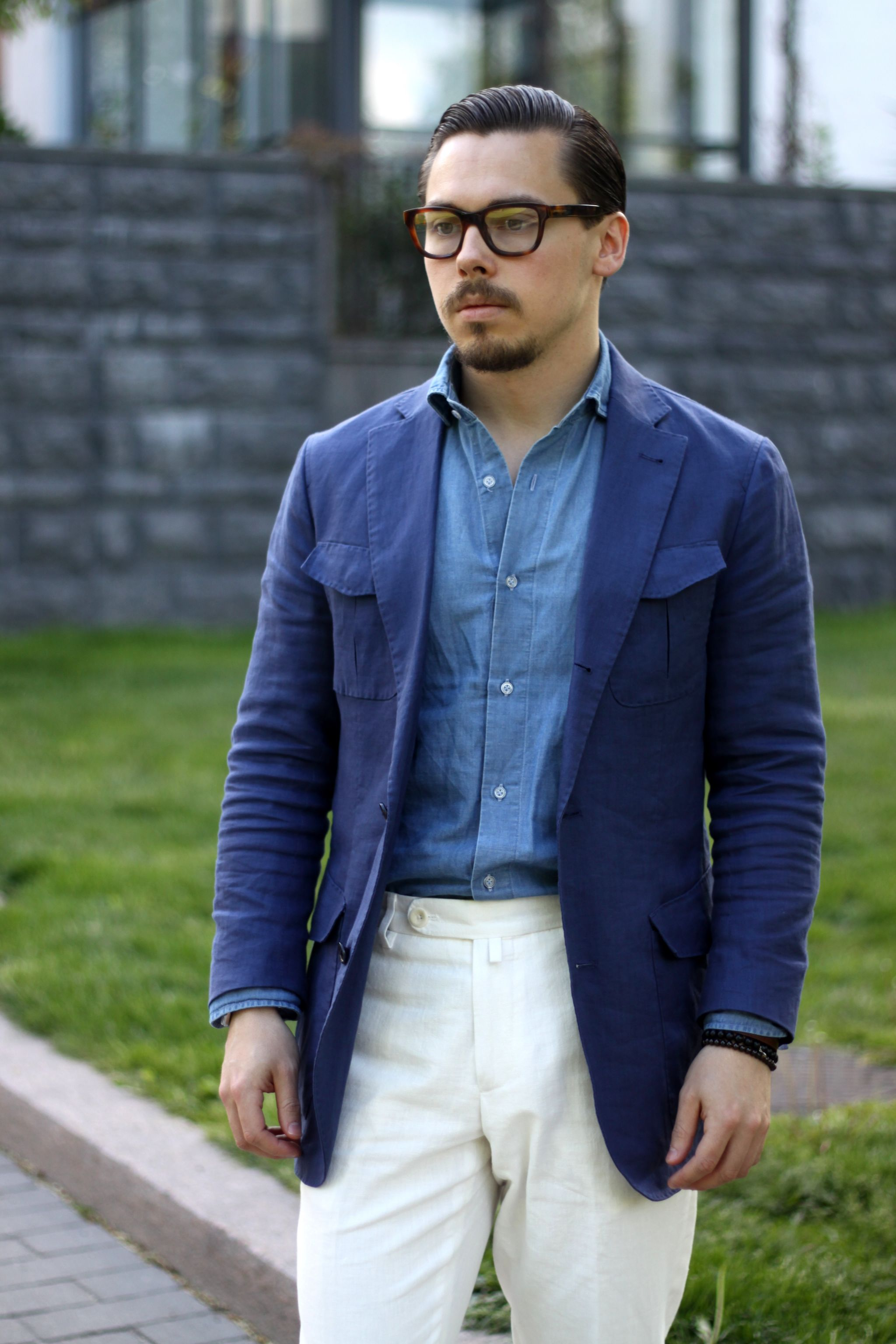 wearing a linen safari jacket