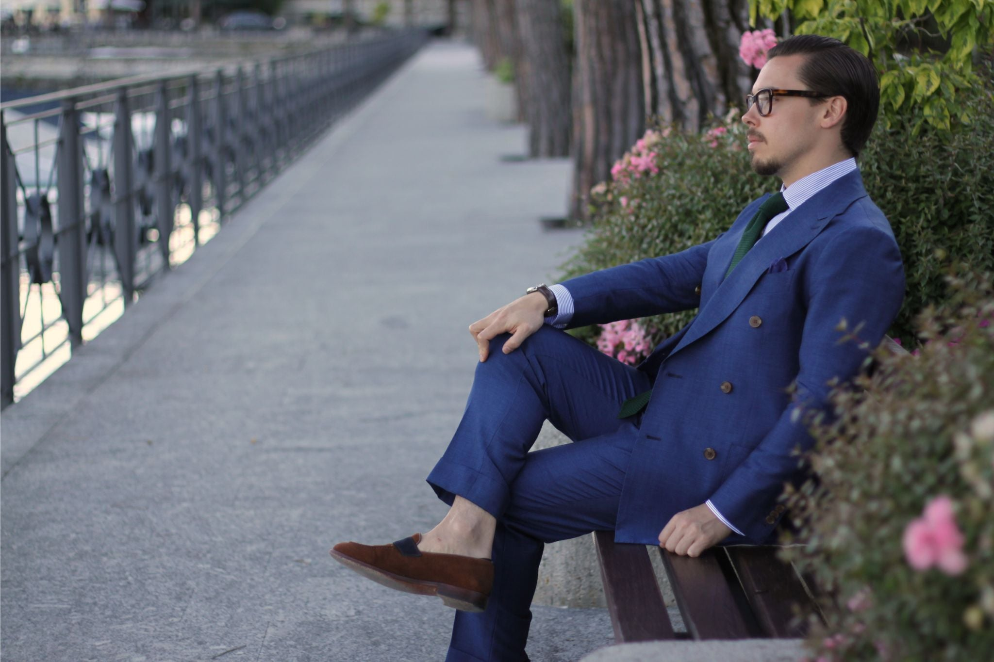 wearing double-breasted suit - lake como