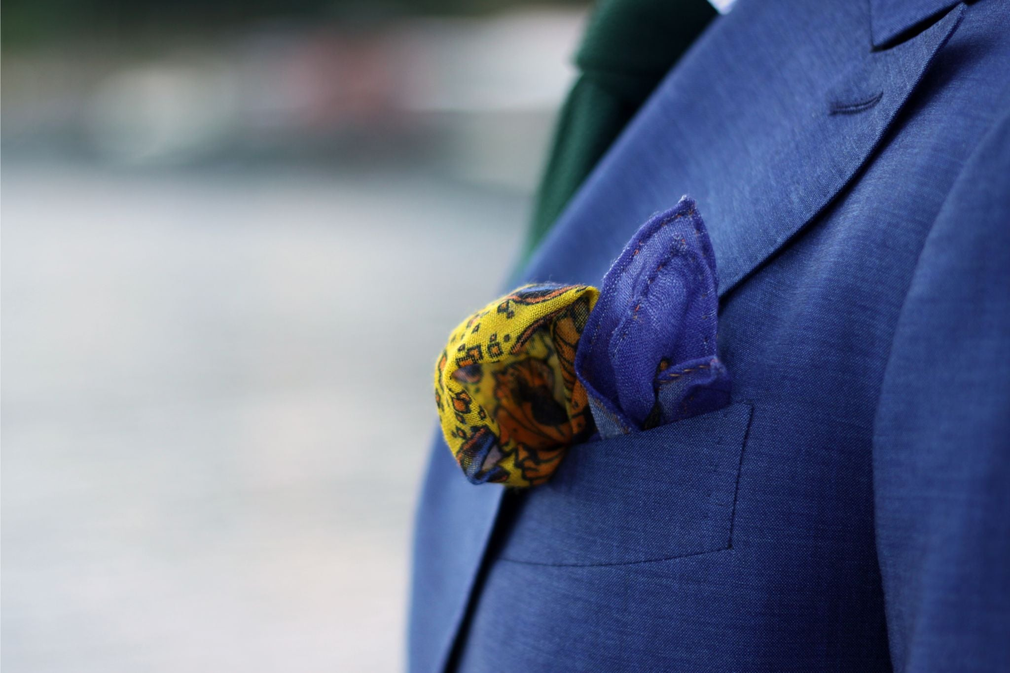 Royal blue double-breasted suit - make it more subtle with soft hues in your pocket square