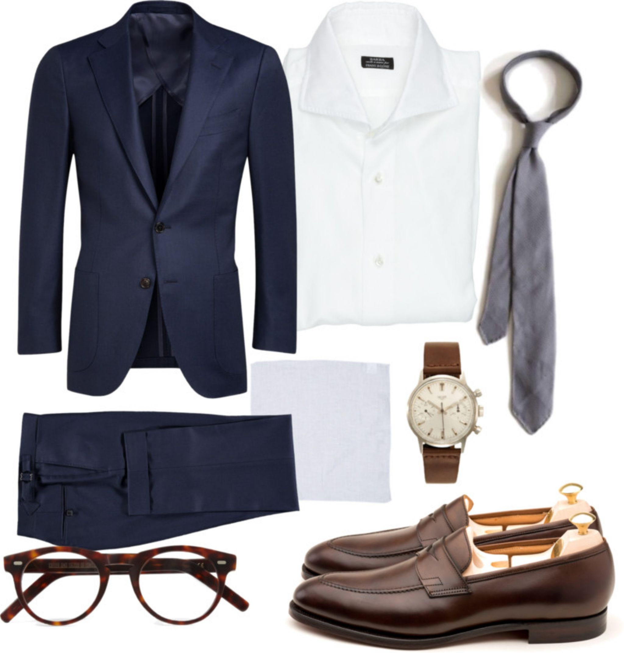 What to wear for wedding - Blue suit, white shirt, silver grenadine tie and brown loafers outfit