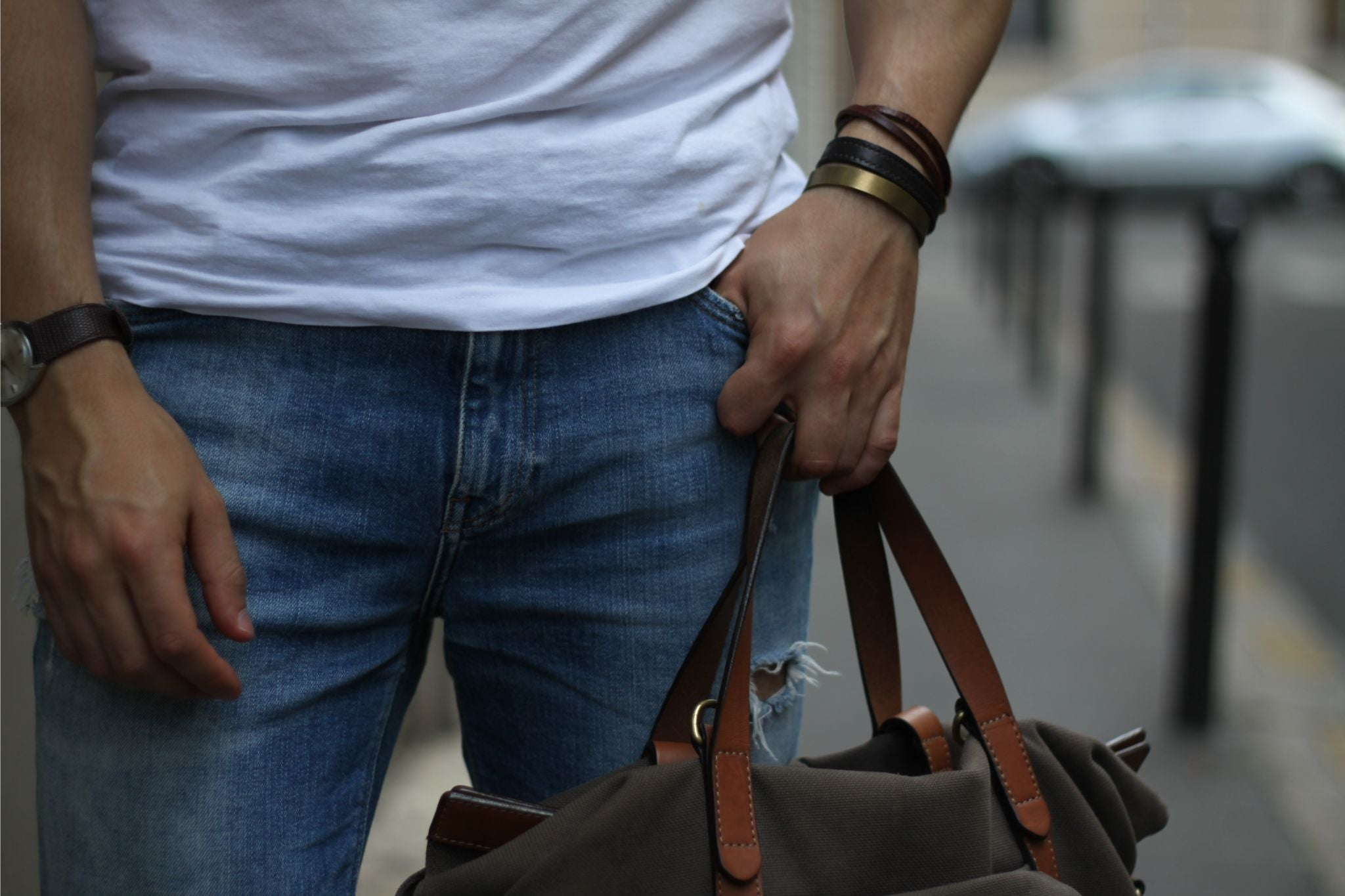 white t-shirt with jeans details