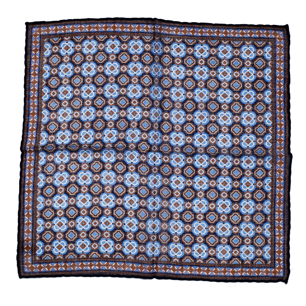 Blue printed wool pocket square