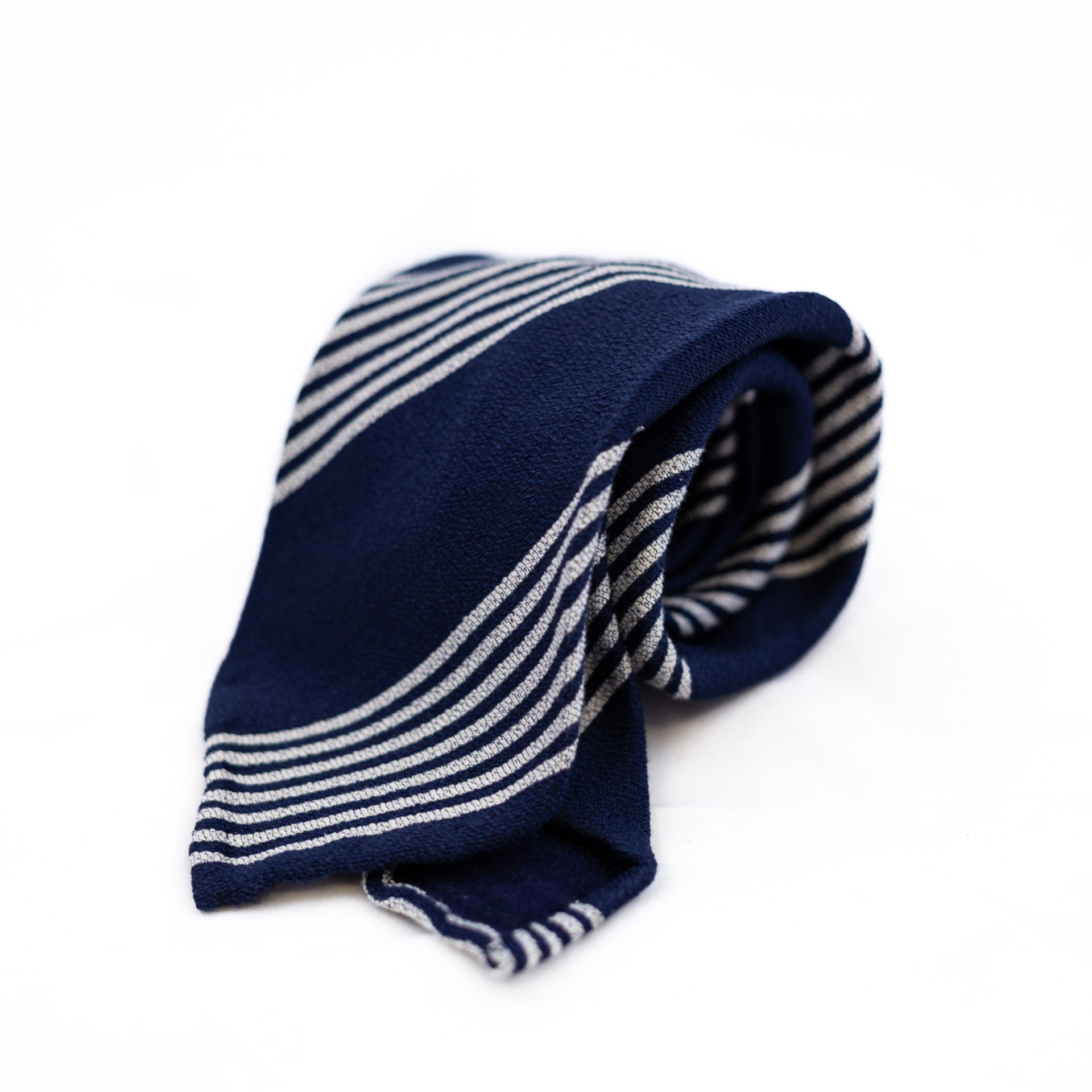 Navy and white striped 5-fold silk tie