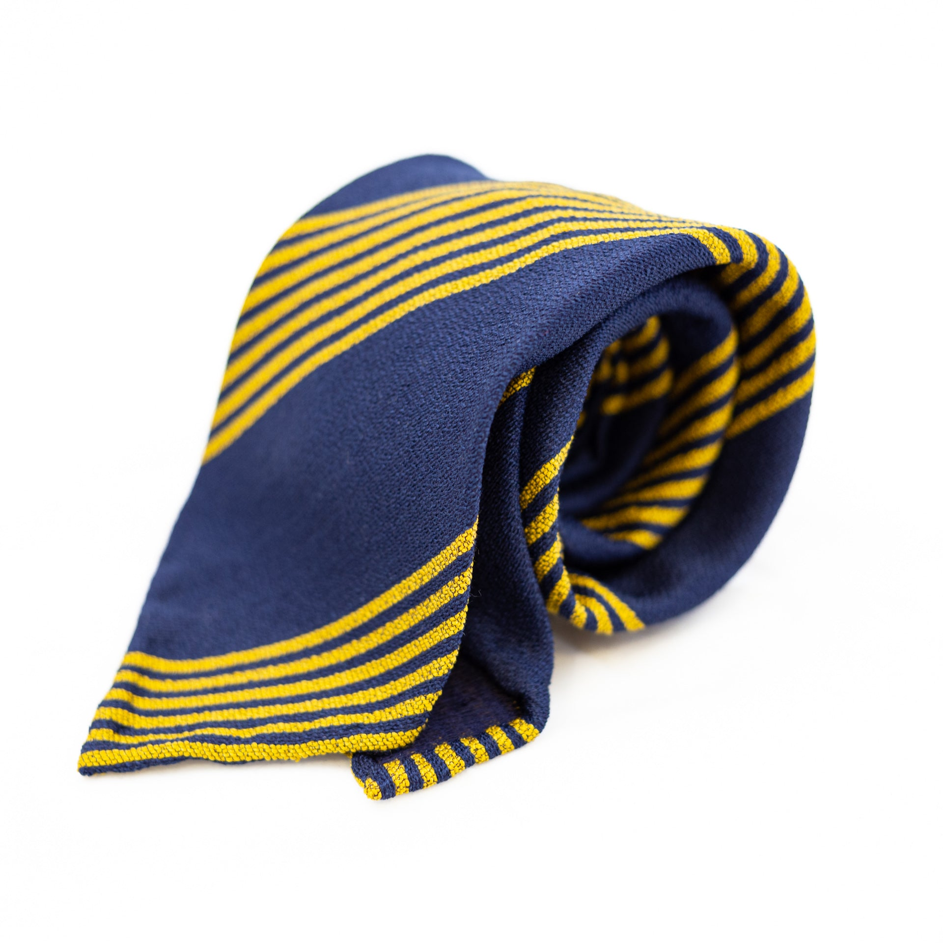 Navy and yellow striped 5-fold silk tie