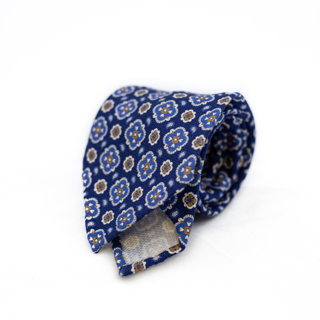 Navy 5-fold printed soft silk tie