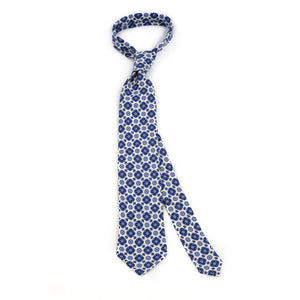White 5-fold printed soft silk tie