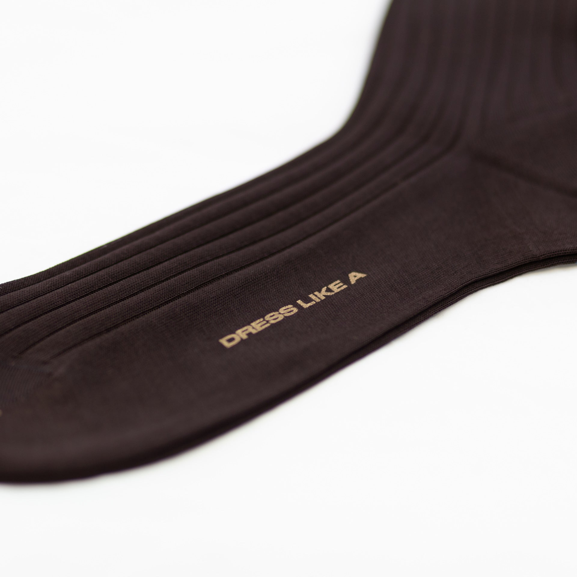 Brown ribbed cotton socks