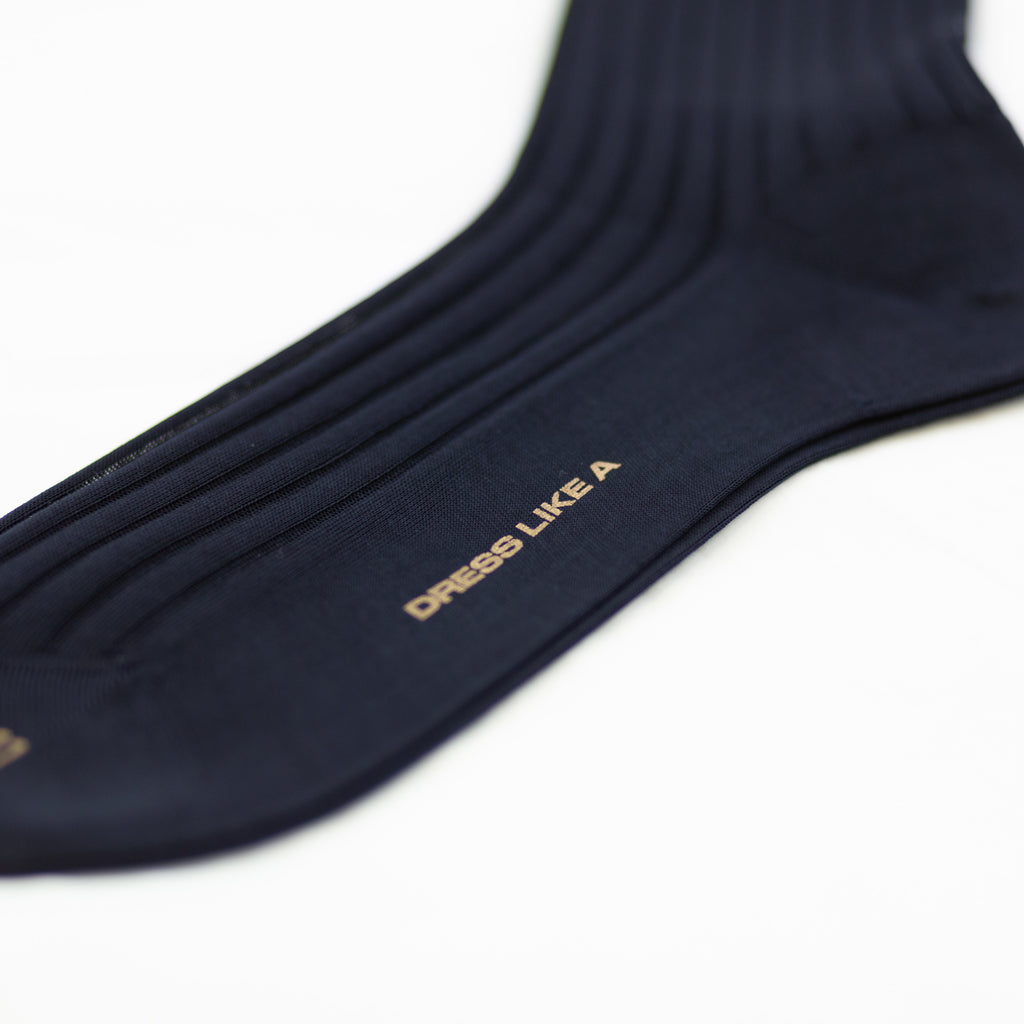 Navy blue ribbed cotton socks