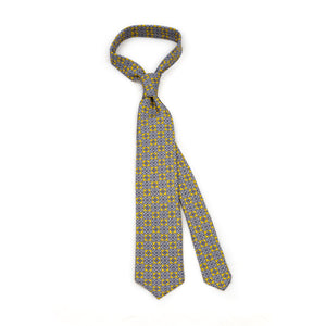 Yellow 5-fold printed silk tie