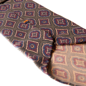 Green 5-fold medallion motif silk tie