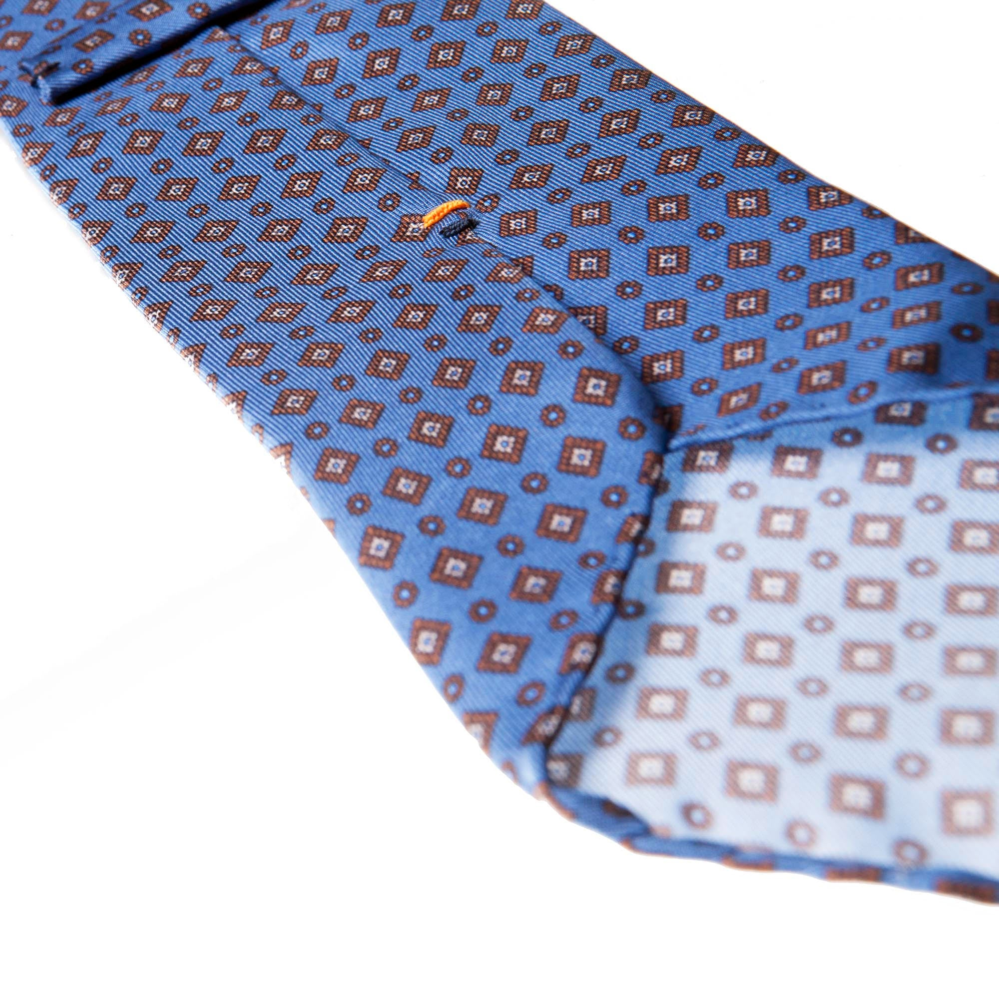 Light blue 5-fold printed silk tie