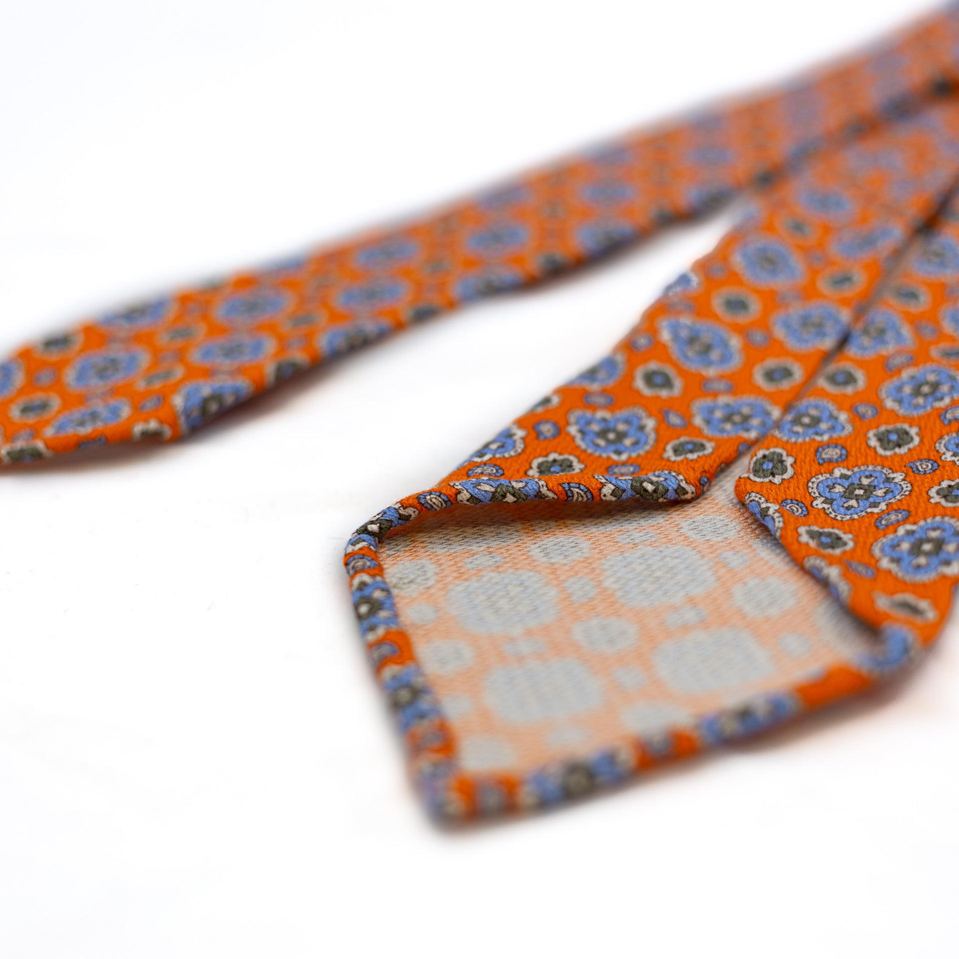 Orange 5-fold printed soft silk tie