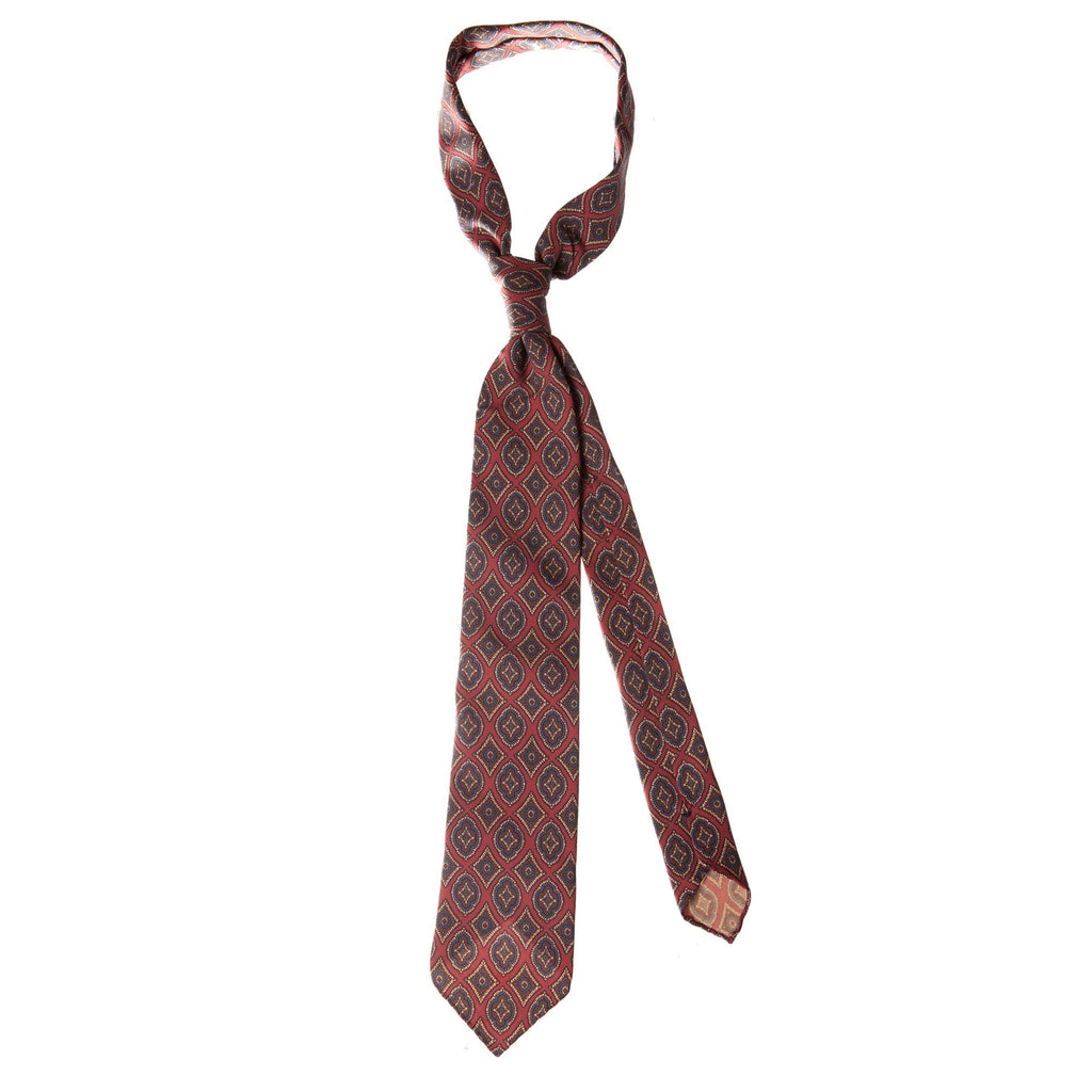 Red 5-fold medallion motif silk tie