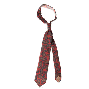 Red 5-fold paisley pattern soft silk tie
