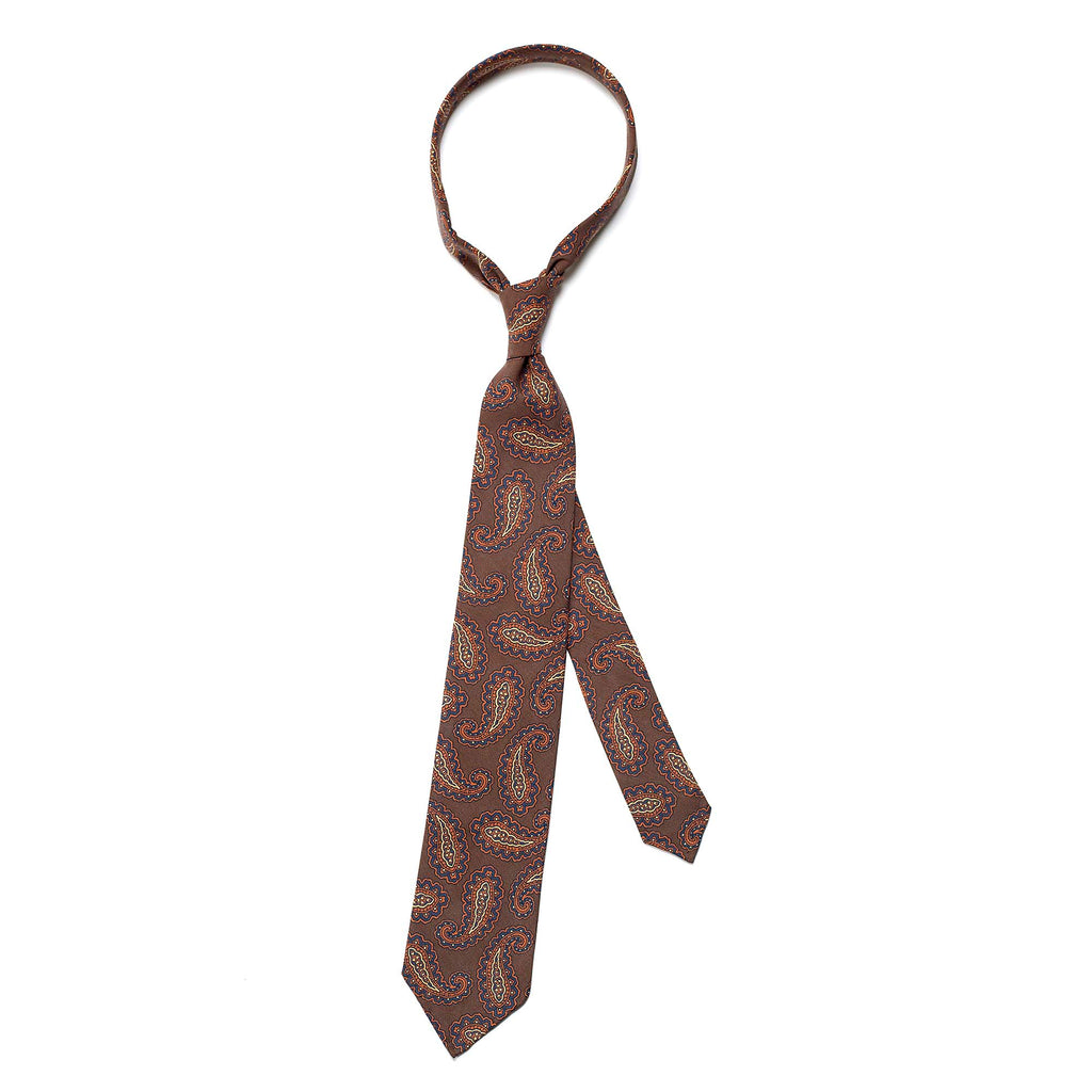 Brown 5-fold paisley pattern soft silk tie