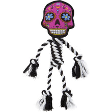 Load image into Gallery viewer, Go Dog Sugar Skull B&W Rope Pink Small