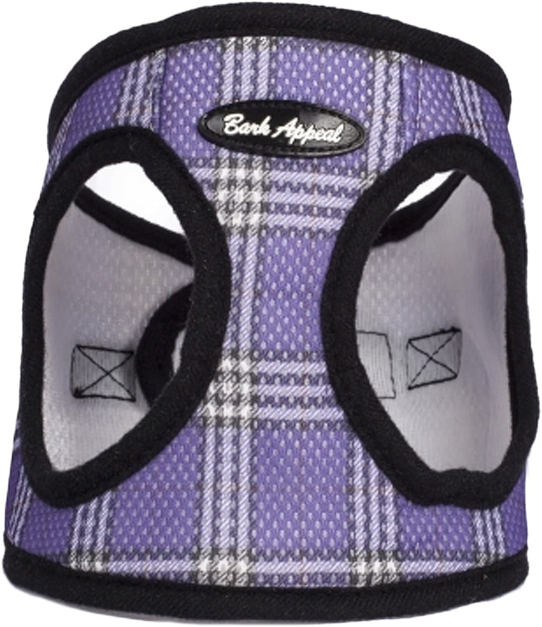 Bark Appeal Lavender Plaid Mesh Harness-Small-