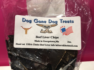 Dehydrated Beef Liver Chips - 3 oz Bags - Qty of 3