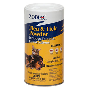 Zodiac Flea & Tick Powder For Dogs & Cat 6oz