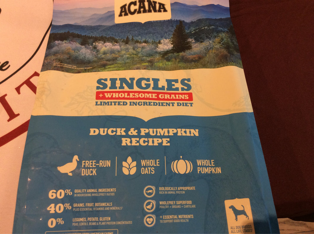 Acana Dog Singles Duck & Pumpkin with Grain 4 Lbs