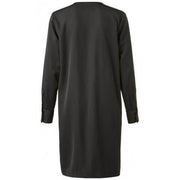 V Neck Placket Dress Black