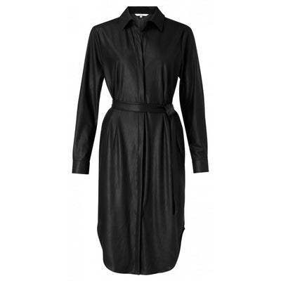 Faux Leather belted shirt Dress with curved hem