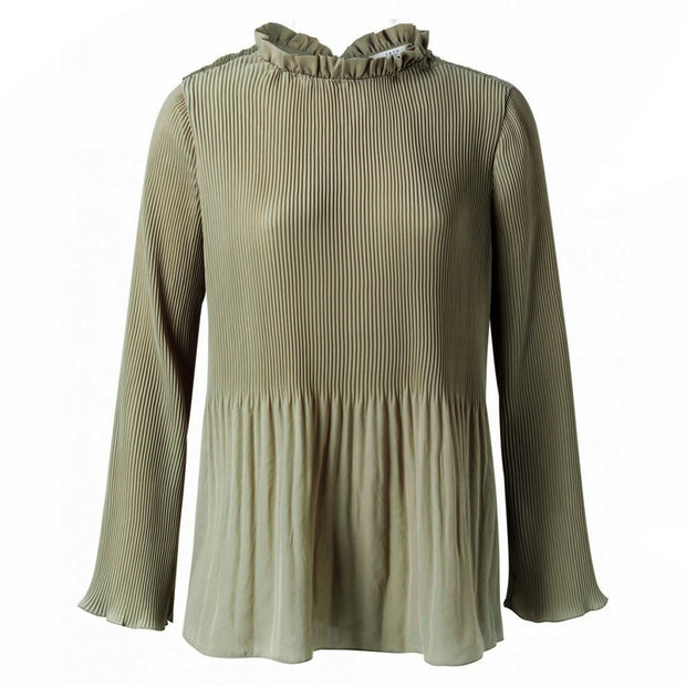 Fully pleated top with ruffled neck
