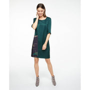 Deep Jade Dress with Printed Panel
