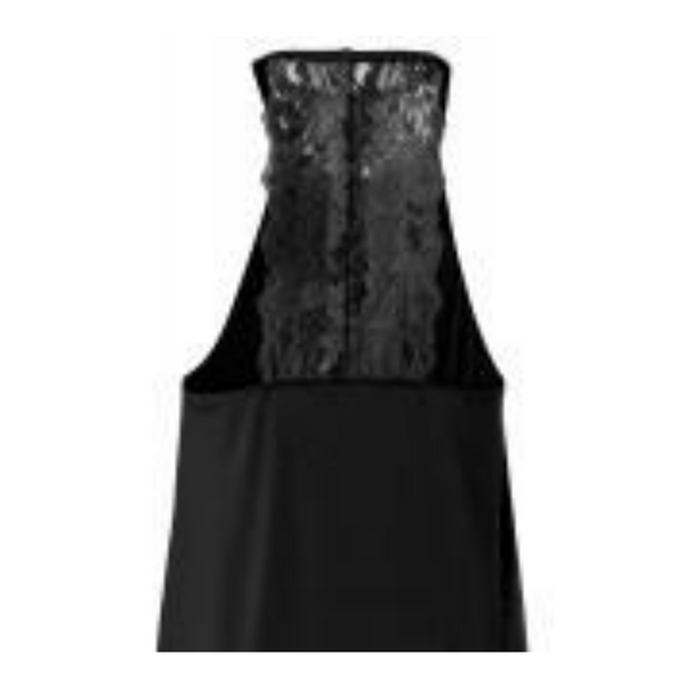 Black halter neck dress with lace detailing on back