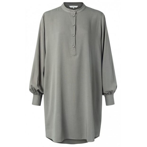 Midi tunic dress with button