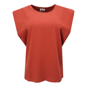Cotton Shoulder Padded T-Shirt