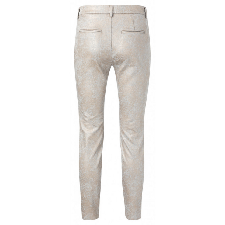Cotton blend stretch chino trousers with floral print